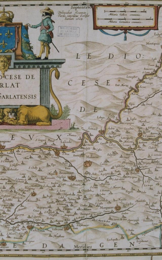 Carte du Diocèse de Sarlat par Jean Tarde en 1624