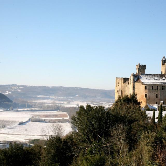 Le Château de Beynac sous la neige